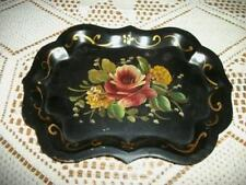 CHIC HP ROSES CHIPPENDALE TOLE TIP TRAY PRECIOUS FRENCH SHABBY PARIS APT COTTAGE