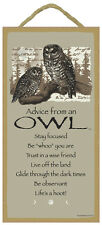 "ADVICE FROM AN OWL Inspirational Primitive Wood Hanging Sign 5"" x 10"""