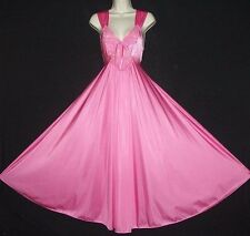 "VTG GIRLY PINK OLGA SPANDEX CLING 180"" SWEEP QUALITY FIG HUG FORMFIT NIGHTGOWN M"