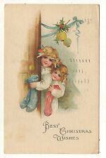 Two Cute Girls with Stockings, Children, Best CHRISTMAS Wishes Vintage Postcard