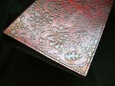 Handmade A5 Leather Ring-Binder - hand-embossed HONEYSUCKLE design
