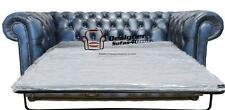 Chesterfield 2 Seater Sofa Bed Antique Blue Leather Sofa Settee