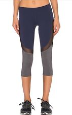 New ALO Curvature Seamed Capri Mesh Inset Yoga Leggings XS Navy Black