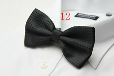 MENS Luxury 2 Layer Black with Black Polka Dot Dickie Bow Tie Adjustable