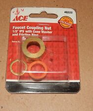 """Faucet Coupling Nut1/2"""" IPS Cone Washer Friction Ring NIB Ace Hardware 40222 98A"""