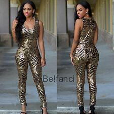 STUNNING BLACK GOLD GEOMETRIC SEQUIN JUMPSUIT SIZE 12 14 UK
