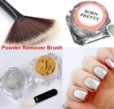 3pcs/kit Mirror Poudre Or Argent Pigment Chromé et Brosse de Nail Art