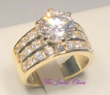 4 Ct Round Diamond Solitaire Engagement Ring Yellow Gold Wide Band