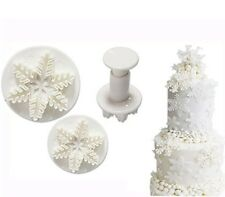 Set of 3 Snowflake Plunger Cutters FROZEN Sugarcraft, Christmas, Fondant