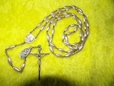 † HTF  VINTAGE  IMITATION PEARL CATHOLIC 5 DECADE ROSARY WITH INFO MEDAL  †