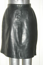Black Soft Real LEATHER MINI SKIRT Cuir Fetish uk10 us6 eu36 Waist w26ins w66cms