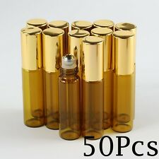 5ml 50pcs glass roll on bottle amber empty Steel Metal Roller Ball Essential Oil