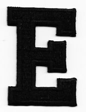 "LETTERS - BLACK BLOCK LETTER ""E"" (1 7/8"") - Iron On Embroidered Applique Patch"