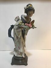 """RARE Large Lladro #5773 """"Graceful Offering"""" Japanese Lady Flowers MINT Condition"""