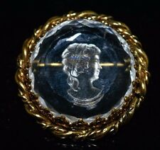 VTG WESTERN GERMANY Gold Tone Clear Glass Intaglio Cameo Pin Brooch