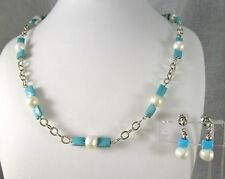 Sterling Silver 925 Real Pearls Turquoise Bead SET Necklace Choker Post Earrings