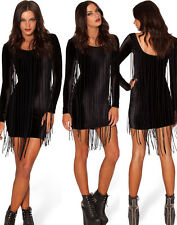 Women Black Fringe Party Dress With Hippie and Tassel Wednesday Summer Clubwear