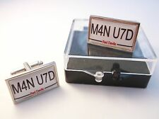 MAN UTD MANCHESTER NUMBER PLATE STYLE BADGE MENS CUFFLINKS CUFF LINKS GIFT