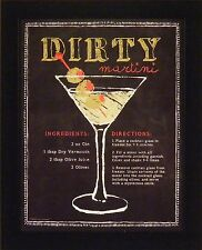 DIRTY MARTINI by Stephanie Marrott 13x16 FRAMED PICTURE Bar Sign Drink Recipe