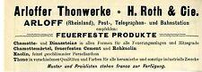 H. Roth & Cie. Arloff THONWERKE FEUERFESTE PRODUKTE Historische Reklame von 1896