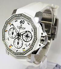 Corum 40mm Admirals Cup White Chronograph Steel/Diamonds/Ceramic Watch 01.0056