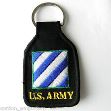 US ARMY 3RD INFANTRY DIVISION EMBROIDERED KEY CHAIN RING 1.75 X 2.75