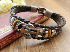 Jewelry Fashion Men's Women Charm Leather Bracelet Bangle Cuff Punk Style NEW K9