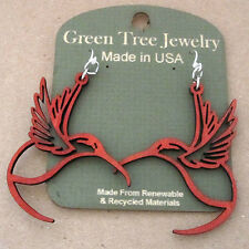 HUMMINGBIRD Green Tree Jewel CHERRY RED laser-cut wood earrings Made-in-USA 1269