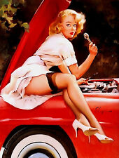 Metal sign vintage Retro style Elvgren sexy pin up girl car wall garage plaque