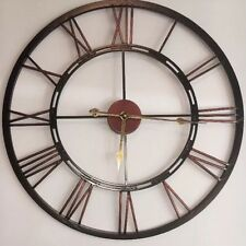 New Industrial X Large Black Copper Metal Numeral Skeleton Wall Clock Home Decor