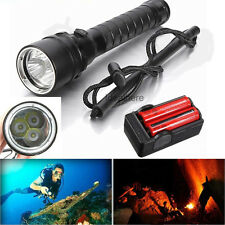 Underwater 8000LM XML-L2 T6 LED Scuba Diving Flashlight Torch W/ Battery Charger