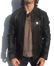 *CAFE RACER* ORIGINAL BROWN SUPERDRY LEATHER BIKER JACKET M £214.99