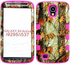 Samsung Galaxy S4 ACTIVE i9295 Hybrid Cover Case Silicone Camo Mossy Grass/ Pink