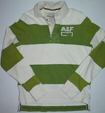 Mens M Abercrombie & Fitch LS Rugby Polo Green White Stripes Shirt Jersey