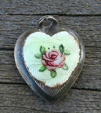 VINTAGE STERLING SILVERSMALL PUFFY HEART CHARM - Green Guilloche & Pink Rose