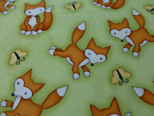 FOX Fabric Fat Quarter Cotton Craft Quilting Green - KIDS - Two By Two