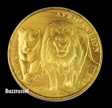 2016 Congo 24K Gold Art Gilded 1 ounce Oz .999 Silver African Lion Coin COA   BU