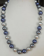 23 inches beautiful 10MM Blue Gray Multicolor South Sea shell pearl necklace