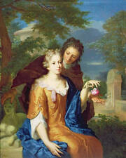 Art oil painting nice young girl with young man romantic lovers with rose flower