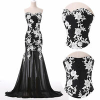 Applique Lace Formal Long Prom Evening Party Ball Gown Cocktail Wedding Dress