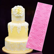 Lace Flowers Silicone Fondant Mat Mold Cake Decorating Cupcake Baking Mould Tool