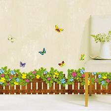 Removable Flower Fence Butterfly Wall Sticker Art Decal Mural Living Room Decor