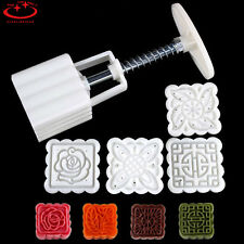4pcs Stamps Square Flowers Moon Cake Mold Pastry Mooncake Hand DIY Tool