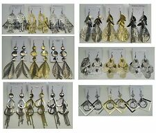 FR-0210 Fashion Jewelry lot 6 pairs Antique  Plated Big Fashion Dangle  Earring