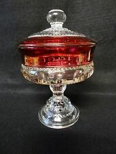 Vintage CRANBERRY Glass KINGS CROWN THUMBPRINT Pedestal CANDY Compote DISH & LID