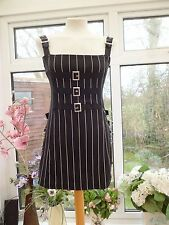 "FABULOUS ""COLLECTIF"" SHORT BLACK PINSTRIPE PINAFORE EMO GOTH STEAMPUNK DRESS 12"