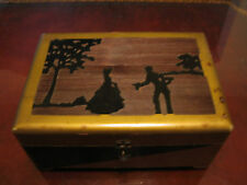 Vintage Antique Art Deco Wooden Painted Jewelry Box w/ Man & Woman Decoration