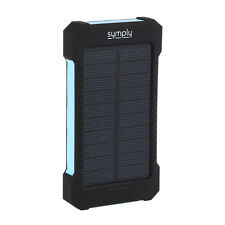 Solar Charger with LED Flashlight Dual USB Portable 10000mah Power Battery Pack