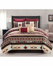 Southwest Red Brown Native American Queen Comforter Set (7 Piece Bed In A Bag)