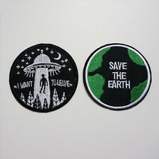 2 x Embroidery Save The Earth UFO Sew Iron On Patch Badage Bag Jeans Applique